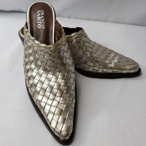 Franco Sarto Leather Metalic Woven Slides Pointed